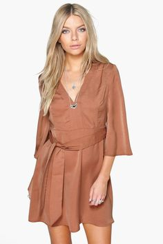 Sara Angel Sleeve Belted Dress