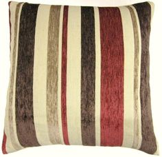 Red And cream pillows   RED BROWN CREAM BEIGE FUNKY RETRO STRIPE CHENILLE CUSHION COVER PILLOW ...