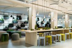 This Swedish Forest-Inspired Office Includes an Interactive Floor That Mimics a Stream – Office lounge Open Office, Office Lounge, Cool Office, Pantry Office, Office Bar, Front Office, Small Office, Office Space Design, Workplace Design