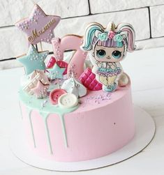 Kuchen   - Kinderkram - #Kinderkram #Kuchen Doll Birthday Cake, Funny Birthday Cakes, Birthday Party Treats, Bolo Sofia, Jasmine Cake, Lol Doll Cake, Surprise Cake, Girl Cakes, Fondant Cakes