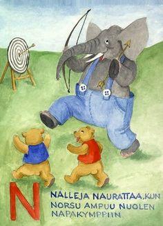 Arin aapinen kirjain N Smurfs, School, Fictional Characters, Schools, Fantasy Characters