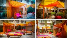 Marigold decoration for orange and yellow theme makes it perfect for mehendi celebration @ City of lakes Bhopal