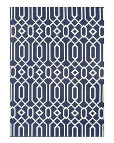Horchow navy indoor/outdoor rug.