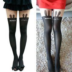 Unique Black Rabbit Pattern Design Velvet Fashion Stockings  US$ 2.69
