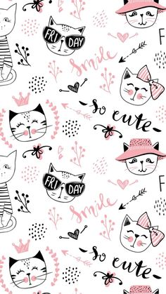 new ideas for cats wallpaper pattern pink - Cats ++ - Cat Wallpaper Cartoon Wallpaper, Kawaii Wallpaper, Animal Wallpaper, Tumblr Wallpaper, Wallpaper Iphone Cute, Pink Wallpaper, Lock Screen Wallpaper, Pattern Wallpaper, Wallpaper Keren