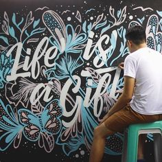 life is a gift - modern lettering and mural work Mural Art, Wall Murals, Wall Art, Types Of Lettering, Lettering Design, Chalkboard Lettering, Typography Inspiration, Typography Letters, Painted Signs