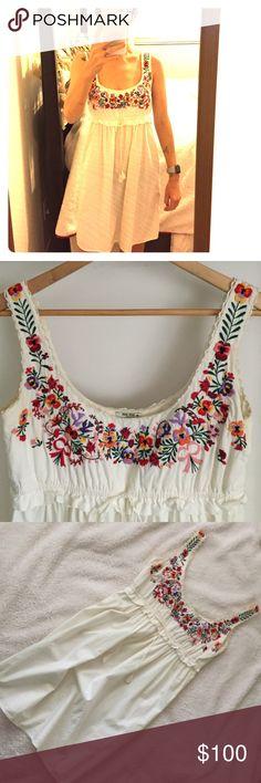 Vintage Miu Miu Sun Dress Beautiful vintage Miu Miu sun dress. Gorgeous embroidered flower bust with empire waist. Has signs of wear and needs a good cleaning but still just as beautiful as ever. Italian size 38, US 4 Miu Miu Dresses Midi