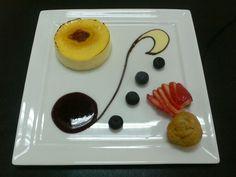 Créme brulée with vanilla sauce & chocolate ganache.