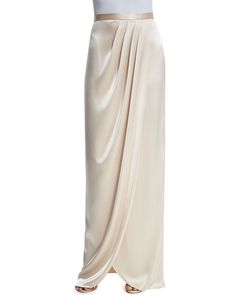 Liquid Satin Faux-Wrap Gown Skirt, Champagne, Women's, Size: 2, Champange - St. John Collection