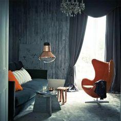 Wallpaper concrete look and designer furniture