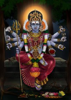 Revere Goddess Chandi on the auspicious day of Aadi friday. Please the mighty Goddess Chandika Devi, a supreme form of Goddess Durga to get ultimate solution to all types of problem. Kali Mata, Saraswati Goddess, Shiva Shakti, Goddess Lakshmi, Durga Ji, Indian Goddess Kali, Kali Shiva, Kali Hindu, Hindu Art