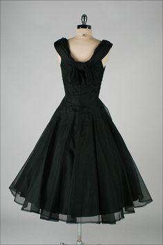 vintage 1950s dress . SUZY PERETTE . black organza . 3510