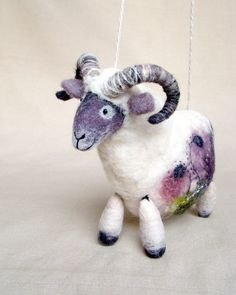 Nataniel - Felt Ram. Art Marionette. Handmade Puppet. Felted Stuffed animals Waldorf Sheep. white grey purple maroon violet. MADE TO ORDER. $60.00, via Etsy.