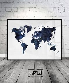 36x24 printable world map dark navy blue wall art navy map blue world map printable watercolour world map print navy blue print art blue gumiabroncs Image collections