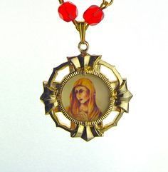 Vintage Our Lady Virgin Mary Czech Glass Necklace RED Gold Tone Pendant #Pendant