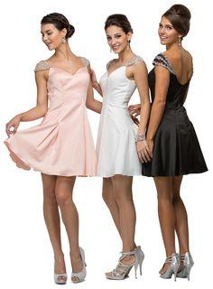 Elegant Gorgeous Cocktail #Dresses Formal Cap Sleeve Homecoming