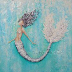 Abstract teal mermaid art original mermaid by NancysFineArt