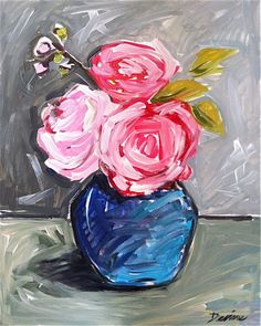 Roses Painting canvas M.Devine pink coral lime floral abstract rose large art