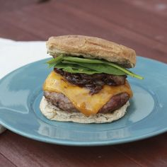 The Sweets Life: Kentucky Style Turkey Burgers with Redeye Bourbon Onions and Cheddar