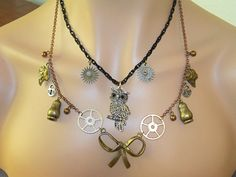 Steampunk Double Pendant Necklace with Punk Bow by Ricksiconics, $44.00