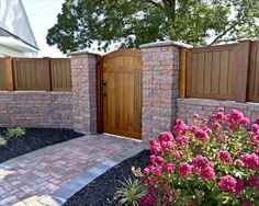EP Henry patio with double sided Coventry wall and walkway in Coventry Stone I. Fence Gate Design, Privacy Fence Designs, Backyard Projects, Backyard Patio, Outside Living, Outdoor Living, Brick Fence, Wood Fences, Stone Fence