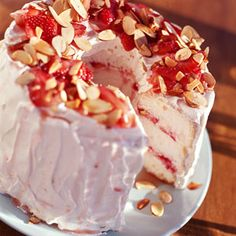 Strawberry Angel Cake.  Went over great at Easter!  A nice spring dessert.  And fairly low calorie, if you use RF cream cheese and 1/2 Splenda :-)