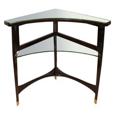 Rare Corner Console By Guglielmo Ulrich | From a unique collection of antique and modern side tables at http://www.1stdibs.com/furniture/tables/side-tables/  #parlor #home #decor #design #midcentury #midcenturymodern #interior #interiordesign #interiordesigner #interiordecor #designdistrict #italian #italy #vintage #table #corner #glass #wood #table #diminutive