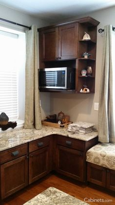 A Microwave Wall Cabinet Paired With A Shelf End Wall Cabinet, In The Style  Of