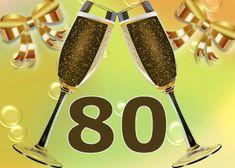leuke 80 jaar verjaardag plaatjes Happy Birthday Video, Art Birthday, Birthday Wishes, Birthday Numbers, Tableware, Cheers, Quotes, Decor, Quotations