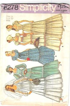 SIMPLICITY 6278 - FROM 1974 - UNCUT - MISSES WEDDING DRESS AND SCARF