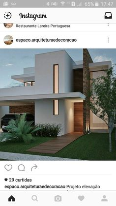 Front of the house Bungalow House Design, House Front Design, Modern House Design, Townhouse Exterior, Villa, House Elevation, Modern House Plans, Facade House, Exterior Design