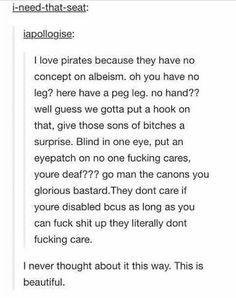 Pirates are nice More memes, funny videos and pics on Stupid Funny, The Funny, Writing Tips, Writing Prompts, Tumblr Funny, Funny Memes, Funny Humour, Memes Humor, All Meme