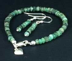Faceted emerald rondelles - bracelet and earring set (sterling silver) Www.myexquisitethings.co.uk