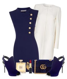"""Blue&White"" by elly-852 ❤ liked on Polyvore featuring Pierre Balmain, Gucci, Giuseppe Zanotti and Lizzie Fortunato"