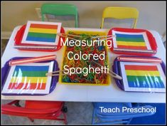 Measuring and creating with colored spaghetti