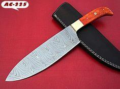 KITCHEN KNIFE CUSTOM HAND MADE DAMASCUS CHIEF KNIFE COLOR BONE HANDLE. #BestSteelWarrior