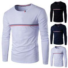 Mk 2017 Printemps T Shirt Hommes De Mode O Cou À Manches Longues Bleu blanc  Rouge Rayé hommes Tops T shirts Plus La Taille 2XL 3XL Casual T Shirts dans  ... 8ee0f2302957