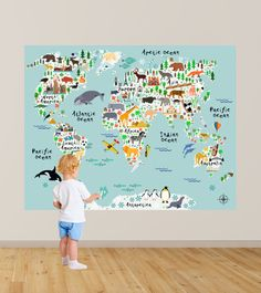 Map of the World Playroom Decal / World Map Wall Decals Kids  sc 1 st  Pinterest & 3 cool world map decals to get kids excited about geography ...