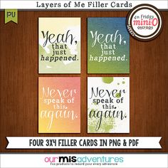 Layers of Me Filler Cards by Our Misadventures | These four 3x4 filler cards coordinate with the July 2014 Mini-Os, perfect for pocket scrapping! Free with purchase of the Layers of Me Templates & Journaling Cards!