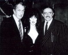 Vincent Price, Cassandra Peterson(Elvira), and John Astin(Gomez Addams). Holy shit she's a lucky lady keeping company like that! Cassandra Peterson, Stanley Kubrick, Samhain, Scary Movies, Horror Movies, Horror Art, John Astin, Agnes Moorehead, Cinema