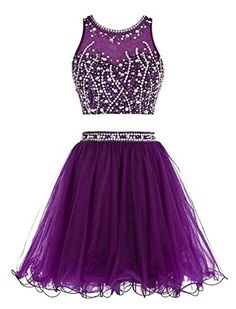 Irises Women's Two Pieces Sequin Beaded Crop Top Prom Gown 2106 Homecoming Dress Purple US16 - Brought to you by Avarsha.com