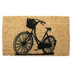 """Hand-woven coir doormat with a bicycle design.  Product: DoormatConstruction Material: 100% CoirColor: Natural and blackFeatures:  Stenciled with permanent fade-resistant dyesHandmade in IndiaBicycle motif Dimensions: 18"""" x 30"""""""