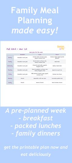 Family meal planning made easy - a week of breakfasts, packed lunches and easy family dinners. Economical, using up leftovers and packing in the fruit & veggies. Quick links to the best recipes of the week. Easy family food from daisies and pie.