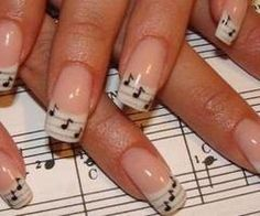 Music notes on French manicure excellent for the music teacher or student. https://www.facebook.com/shorthaircutstyles/posts/1759824064308033