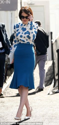 Michelle Dockery, trumpet style skirt, a lil' fit, a lil' flare