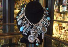Askew Londra turchese fascino collana argento di HirstAntiques
