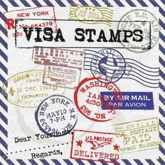 visa stamps card Free Vector