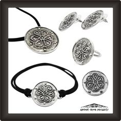 Rodax Set. Silver 925°  The rosette or rose or rodax or rodakas in Greek is a round, stylized flower motif, used extensively in ancient Greek-Mycenaean jewels, among its other decorative uses in sculptures, architecture and pottery, appearing throughout Ancient Greece....