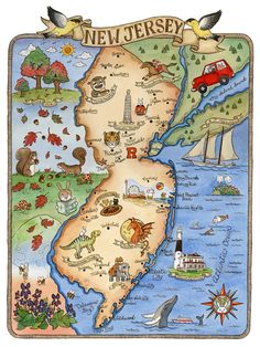 New Jersey State Map Art Print 11 x 14 by SepiaLepus on Etsy