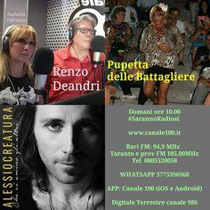 Domani ore 10.00 #SarannoRadiosi  www.canale100.it  Bari FM: 94,9 MHz  Taranto e prov FM 105,00MHz Tel 0805520058  WHATSAPP 3775396968  APP: Canale 100 (iOS e Android)  Digitale Terrestre canale 986